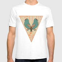CATS AND BIRDS Mens Fitted Tee White SMALL