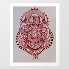Maroon Mask Art Print