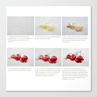 Watercolor Demo Cherries on a Cushion Canvas Print