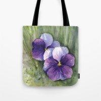 Purple Pansies Watercolor | Flower Painting | Violet Floral Art Tote Bag