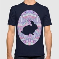 Rabbit Pattern Mens Fitted Tee Navy SMALL