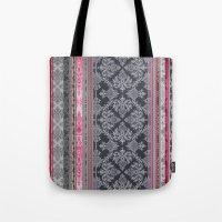 Burgundy, Pink, Navy & Grey Vintage Bohemian Wallpaper Tote Bag