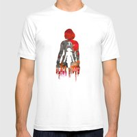 Black Widow Print Mens Fitted Tee White SMALL