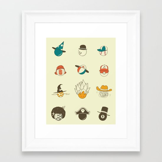 Weird balls with weird hats Framed Art Print