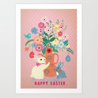 Art Print featuring Happy Vintage Easter by Elisandra