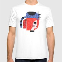 BLUE CAT ON HEAD Mens Fitted Tee White SMALL