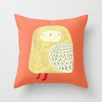 Cute Owl. owl art, owl illustration, owl print, owl decor, nature,  Throw Pillow