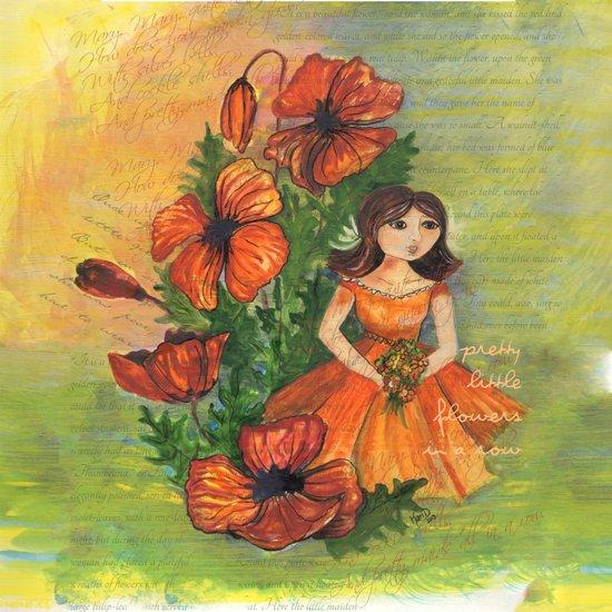 Pretty flowers in a row Art Print