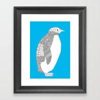 Light Blue-Penguin Framed Art Print