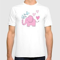 Elephant Love Walk Pink Mens Fitted Tee White SMALL