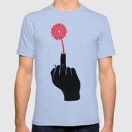 The One Fingered (Hippy)… Mens Fitted Tee Tri-Blue SMALL