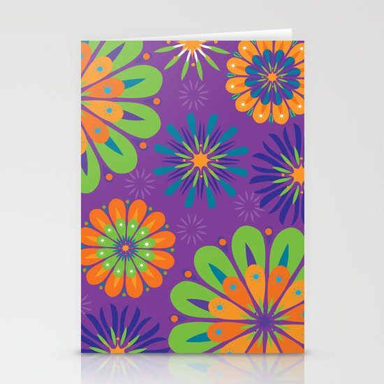 Psychoflower Purple Stationery Card