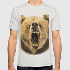 Roaring Bear Mens Fitted Tee Silver SMALL