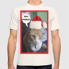 CHRISTMAS CAT Mens Fitted Tee Natural SMALL