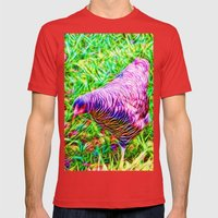 Hen On Grass Mens Fitted Tee Red SMALL