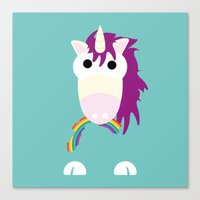 Minimal Unicorn Blue Canvas Print