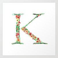 Floral Monogram Letter K Art Print