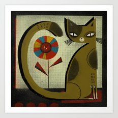 FLOWER & CAT Art Print