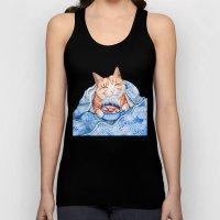 Happy Cat Drinking Hot C… Unisex Tank Top