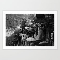 A rainy day is black and white Art Print