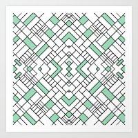 PS Grid 45 Mint Art Print