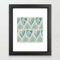 Framed Art Print featuring Blue And Beige Zentangle… by /CAM