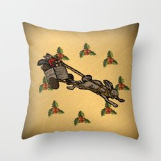 Christmas on the Nut Express Throw Pillow