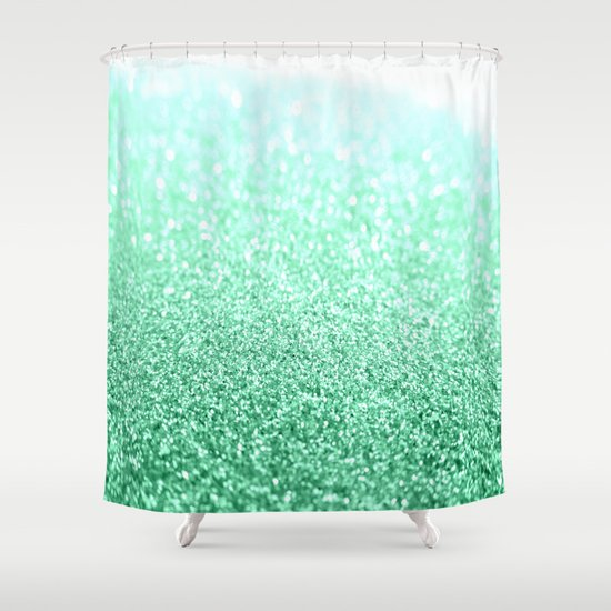 seafoam green glitter shower curtain by simplychic society6