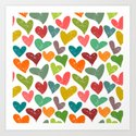 Colorful grunge hearts Art Print