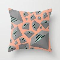 Mint And Gray Diamond On… Throw Pillow