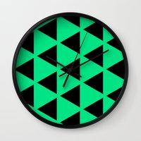 Sleyer Black on Green Pattern Wall Clock