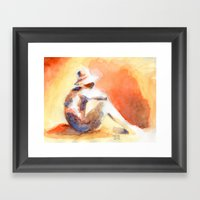 SUNSET AQUARELLE Framed Art Print