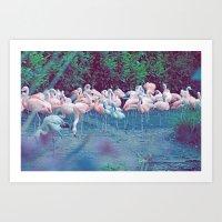 ♢ Pink Flamingos Art Print