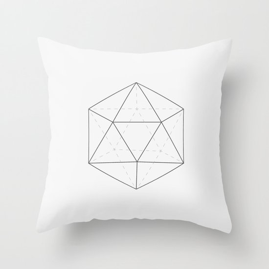 Black & white Icosahedron Throw Pillow