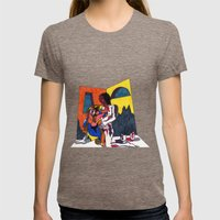 The artist and his artwork Womens Fitted Tee Tri-Coffee SMALL