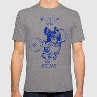 Frenchie Squat Mens Fitted Tee Tri-Grey SMALL