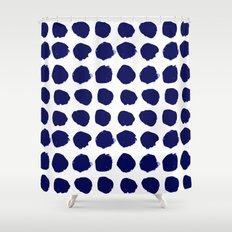 Aria - indigo brushstroke dot polka dot minimal abstract painting pattern painterly blue and white  Shower Curtain