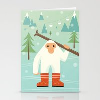 Yeti skieur Stationery Cards