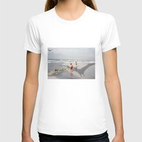 THE BEACH-Suburban Monster Series Womens Fitted Tee White SMALL
