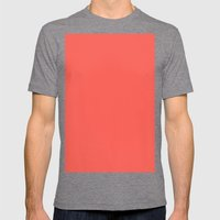 Sunset orange Mens Fitted Tee Tri-Grey SMALL