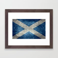 National flag of Scotland - Vintage version Framed Art Print