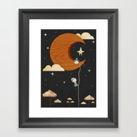 Escape To The Moon - Nig… Framed Art Print