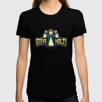 Steve Holt! Womens Fitted Tee Black SMALL