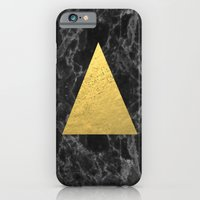 iPhone Cases featuring Black Gold Marble Tri - dark solid classic gold foil on marble cell phone case for college dorm  by CharlotteWinter