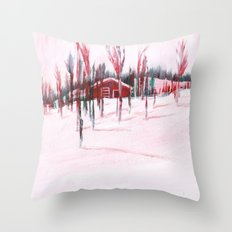Cozy Cabin In The Snow Throw Pillow