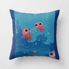 Jelly Fish Under  Water … Throw Pillow