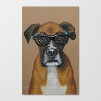Hipster Boxer Dog Canvas Print
