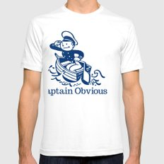 Captain Obvious White Mens Fitted Tee SMALL