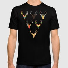 retro deer head white SMALL Mens Fitted Tee Black