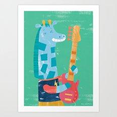 Giraffe Bass Player Art Print